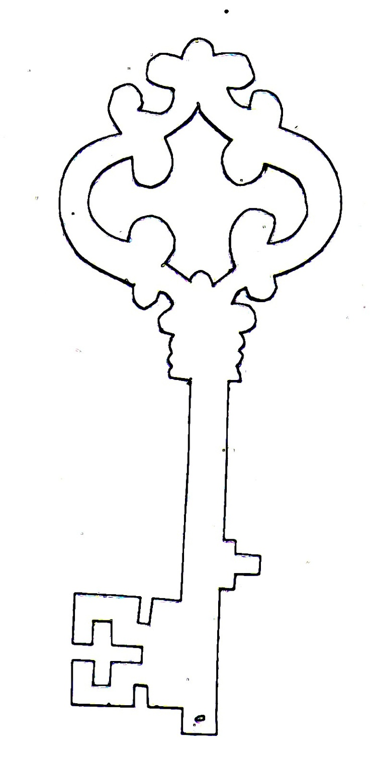 736x1510 Skeleton Key Clipart Outline