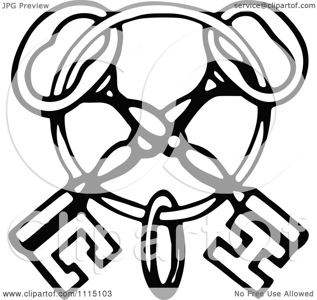 1080x1024 Clipart Vintage Black And White Crossed Skeleton Keys On A Ring