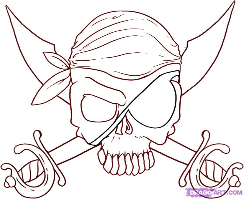 827x676 Nice Easy Skull Drawing How To Draw Jolly Roger Skull