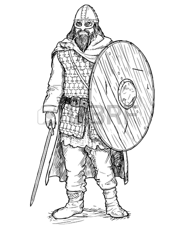 362x450 Hand Drawing Pen And Ink Illustration Of Ancient Viking Warrior