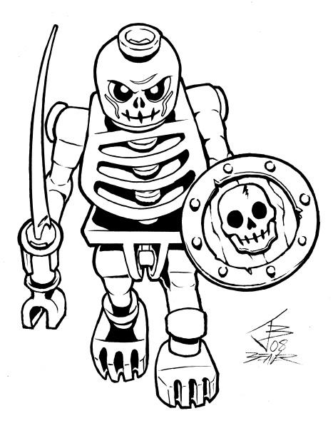 467x600 Lego Skeleton Warrior B w By Primeop