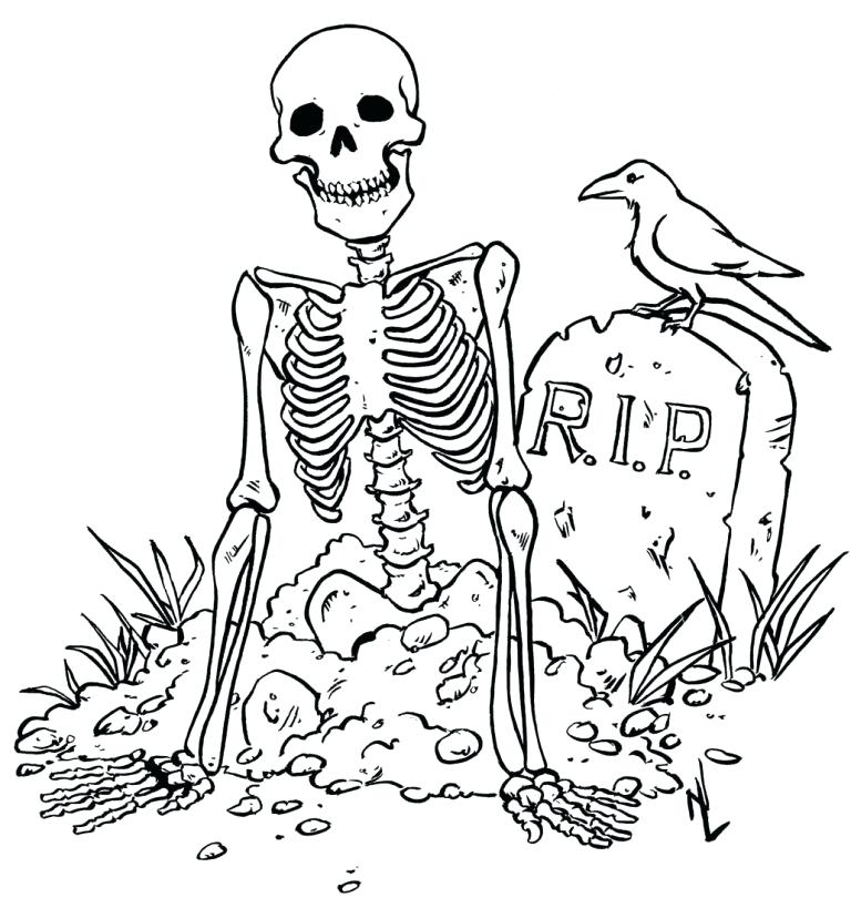768x810 Skeleton Coloring Pages