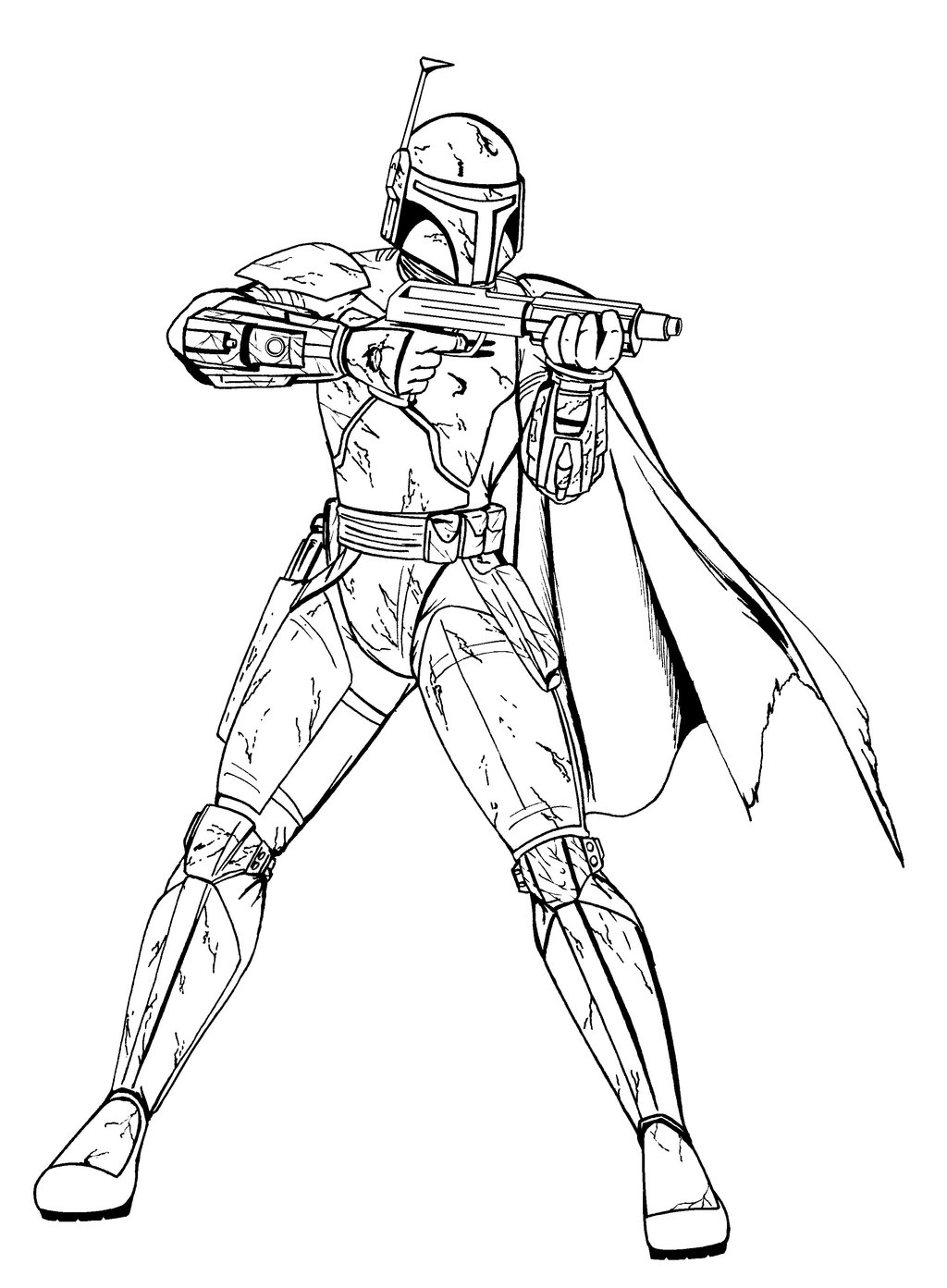1024x1393 Star Wars Warrior Shooting Free Coloring Page Kids, Movies, Star