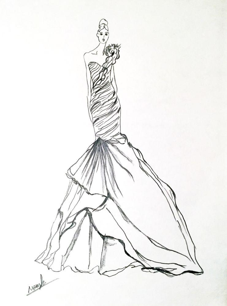741x1000 Artist Original Fashion Illustration Sketch Pencil Drawing Wedding