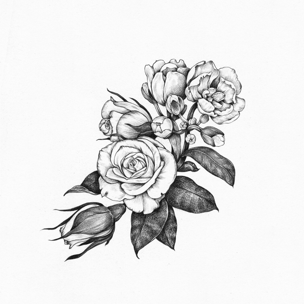 1024x1024 Black And White Flowers Drawings Tumblr Drawing Of Sketch