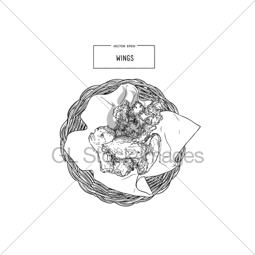 500x500 Hand Drawn Sketch Buffalo Chicken Wings In Basket. Gl Stock Images