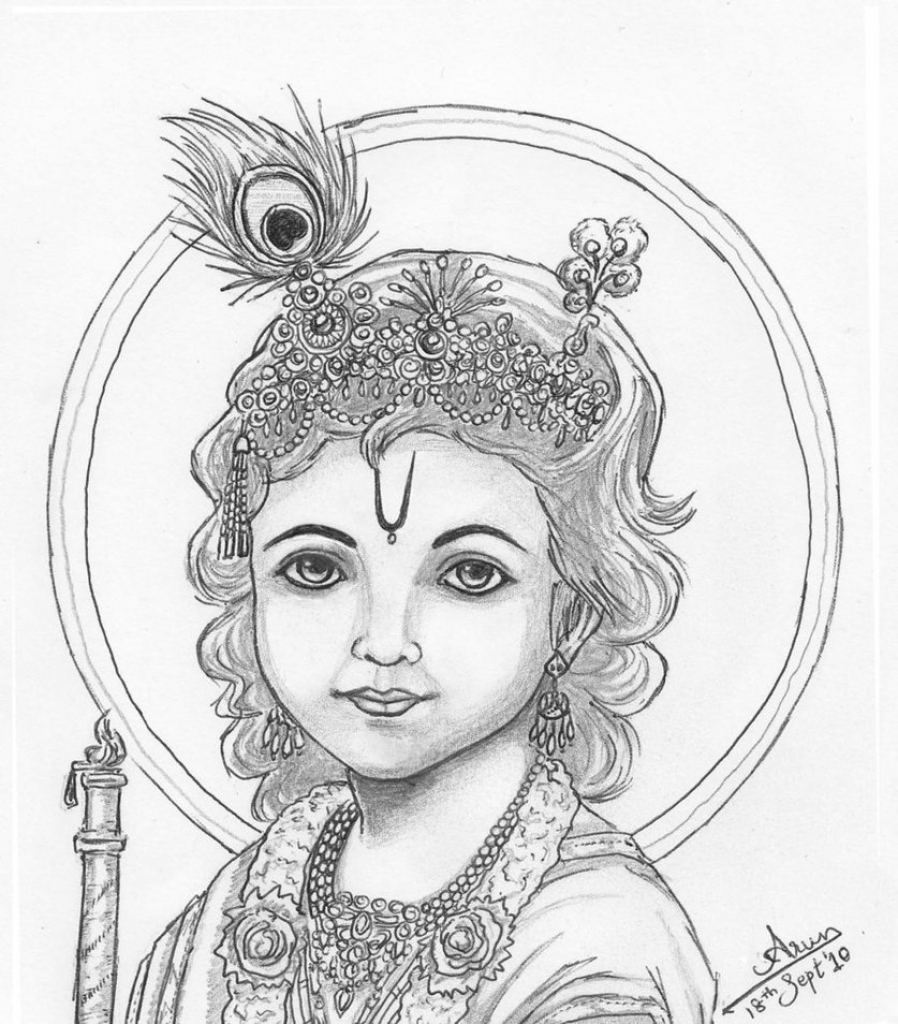 898x1024 Lord Krishna Photo Of Pencil Sketch