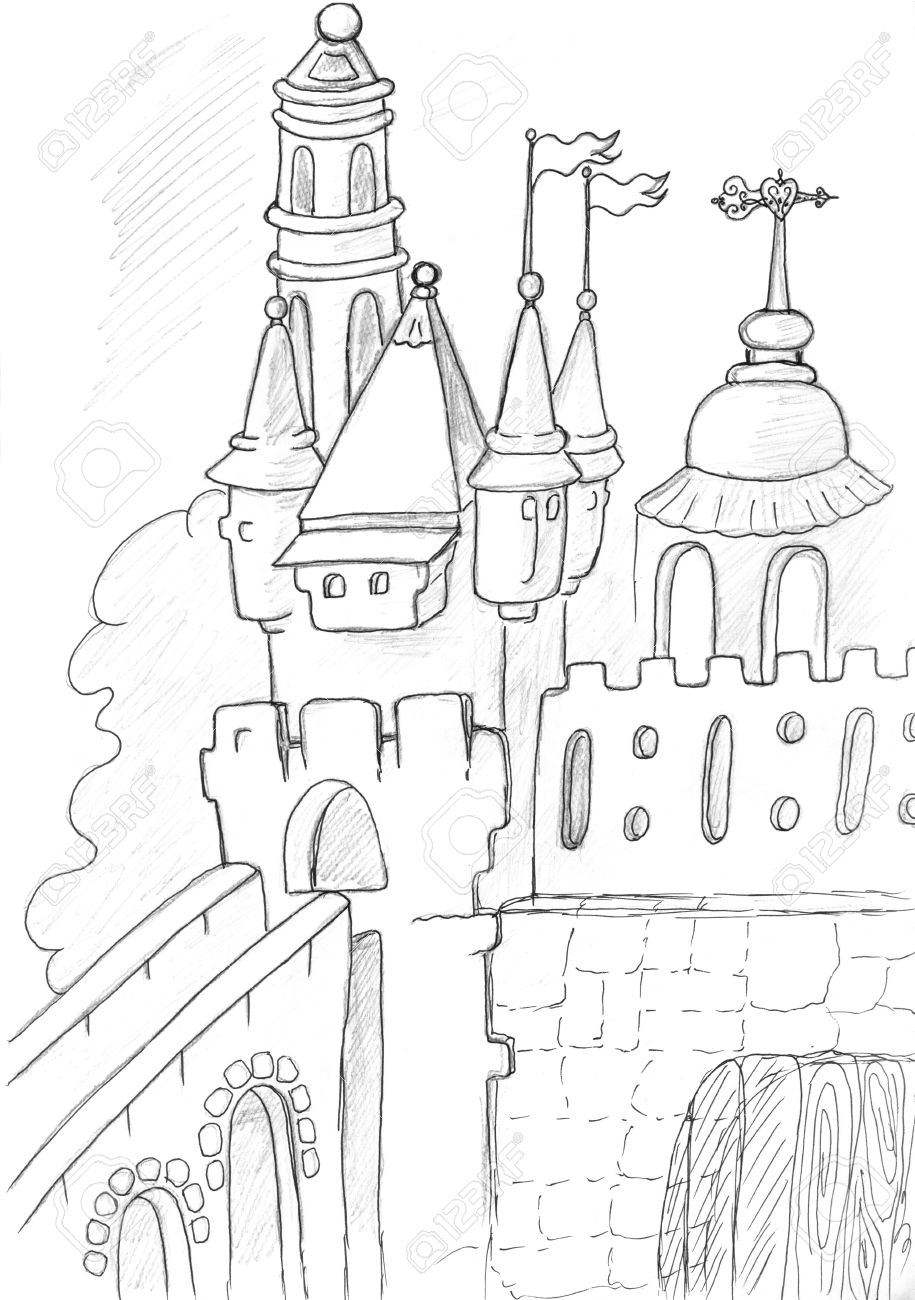 915x1300 Medieval Castle Sketch, Pencil Drawing Stock Photo, Picture