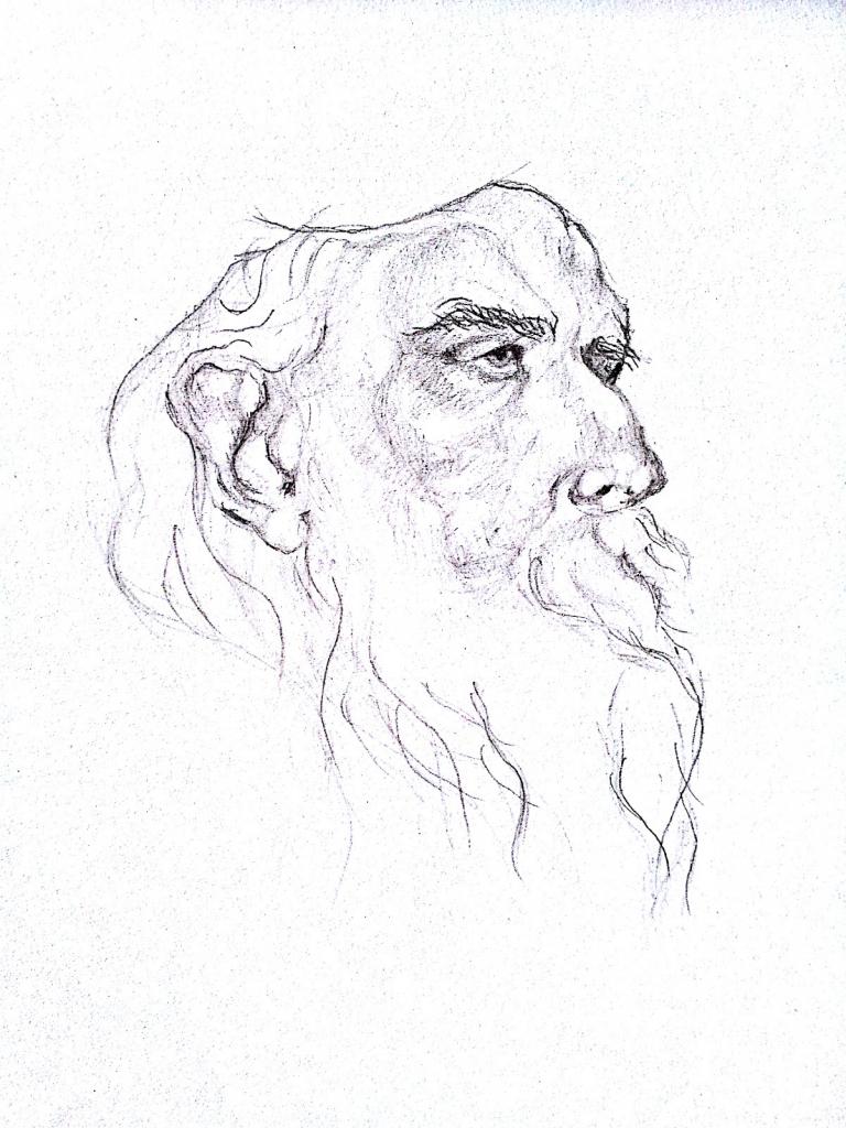 768x1024 Rabindranath Tagore Pencil Drawing Step By Step Rabindranath