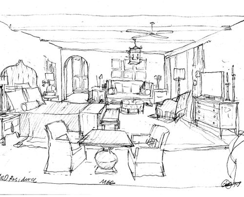 500x404 Drawing Interior Design Sketches Magnificent Painting Curtain
