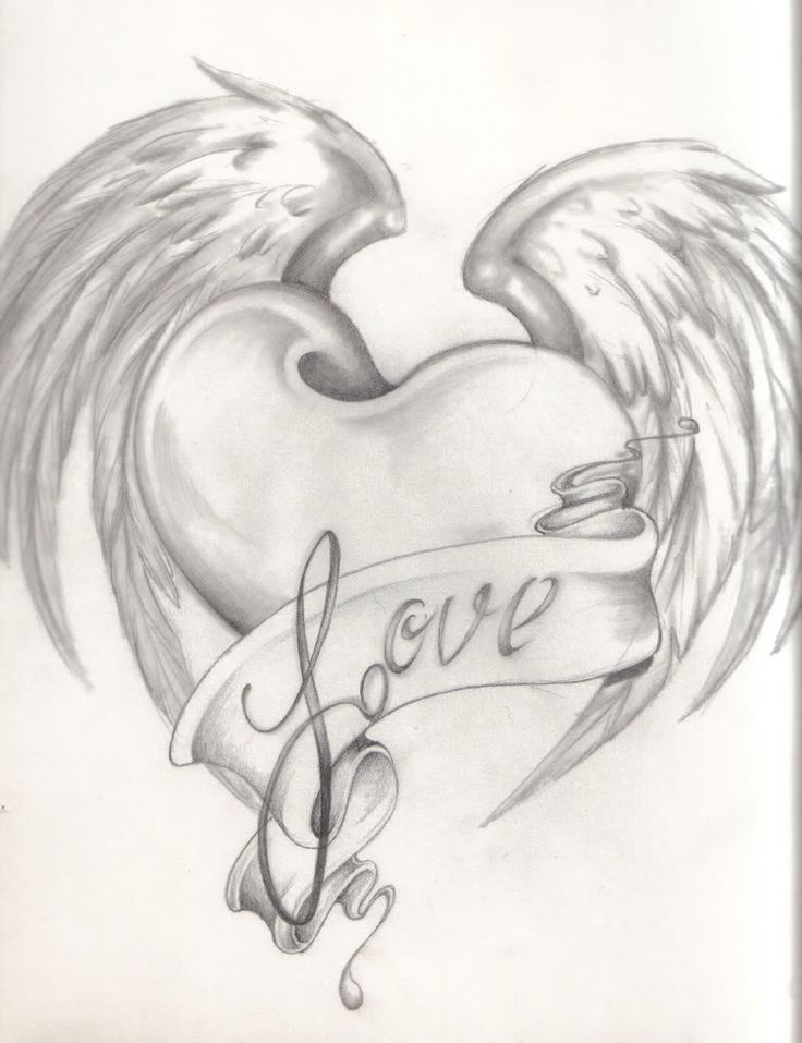 736x957 Heart And Rose Drawings In Pencil Group