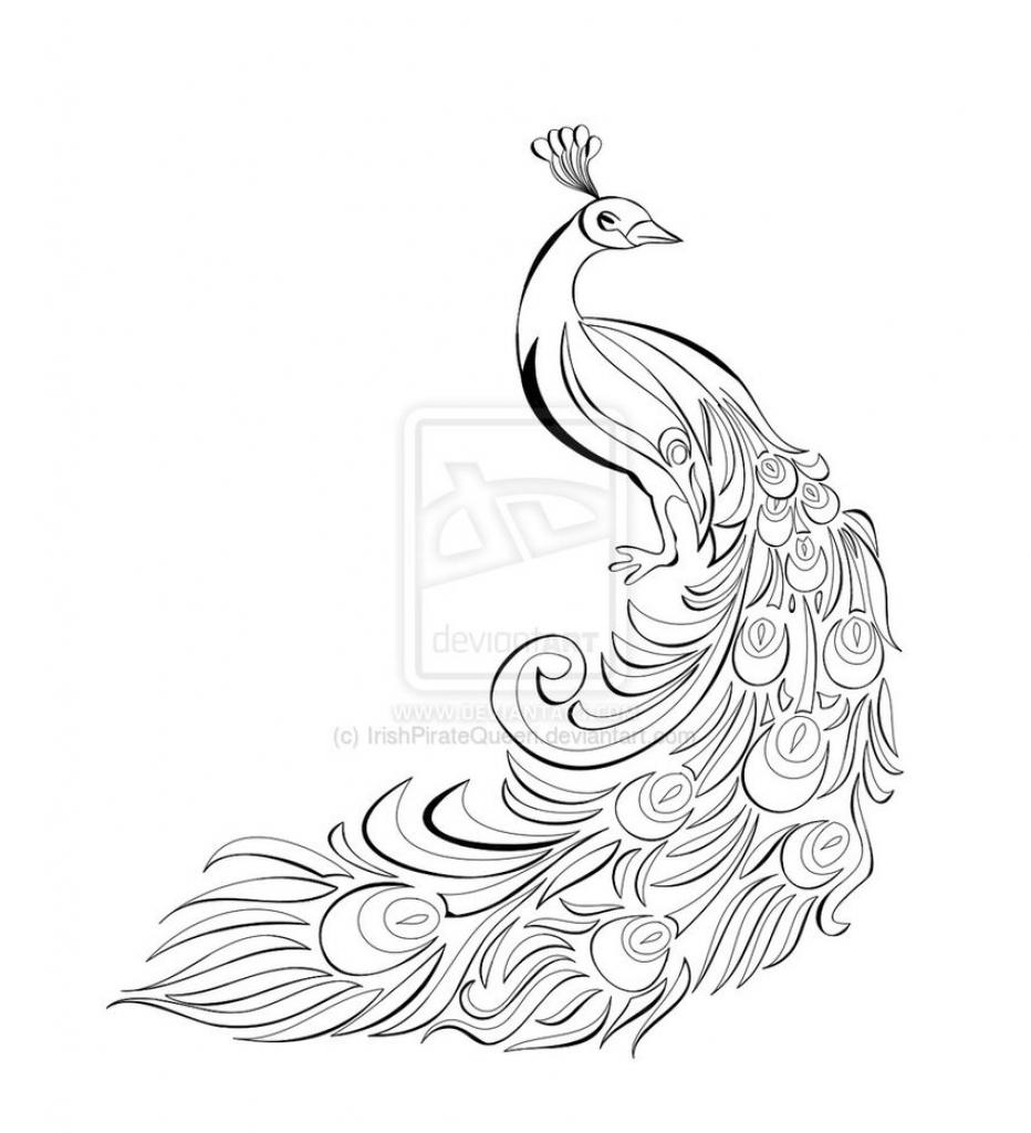 932x1024 Pencil Sketch Drawing Peacock Image
