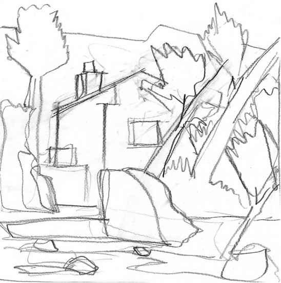 548x552 Graphite Landscape Drawing