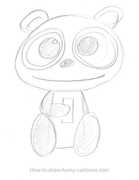 450x580 Panda Drawing (Sketching + Vector)