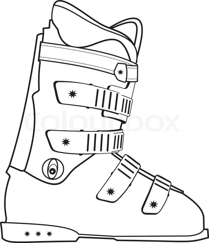 688x800 Isolated Illustration Of Ski Sports Boot Contour On White