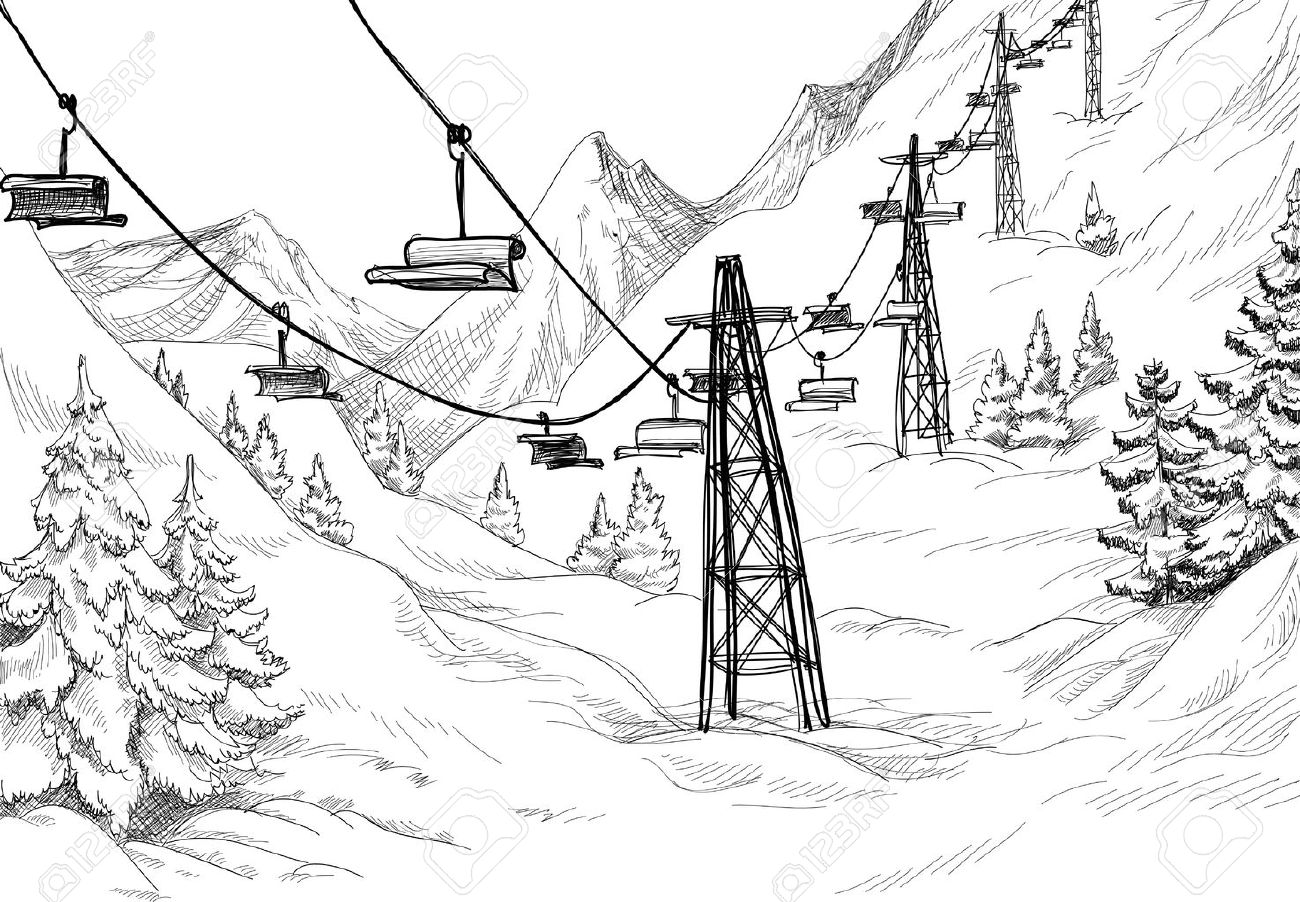1300x902 Ski Lift Sketch Royalty Free Cliparts, Vectors, And Stock
