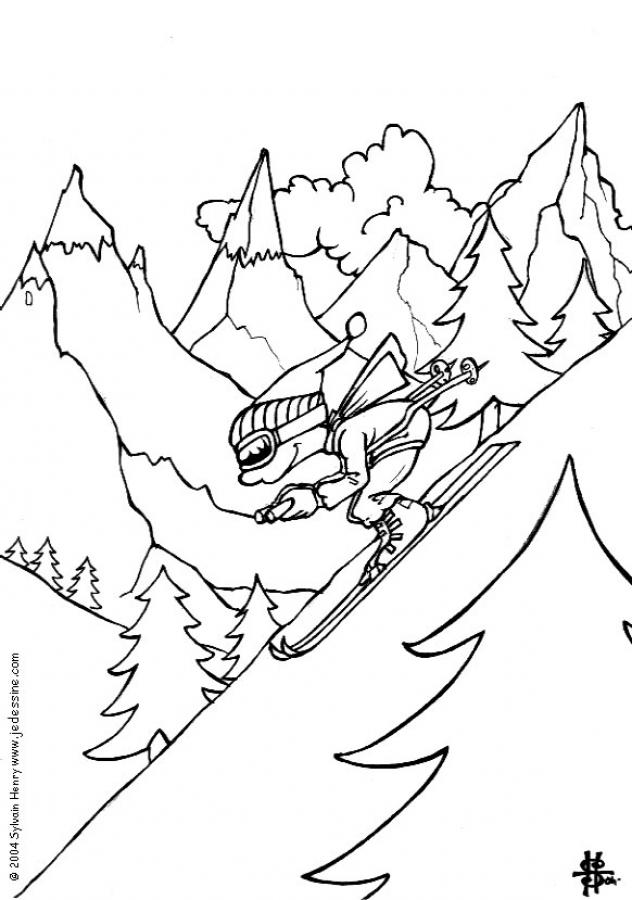 632x900 Boy Skiing Coloring Page. Tmore Sports Coloring Pages On Hellokids