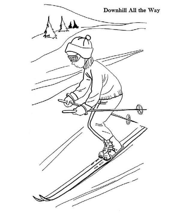 600x734 Skiing Downhill All The Way Coloring Page Coloring Sky