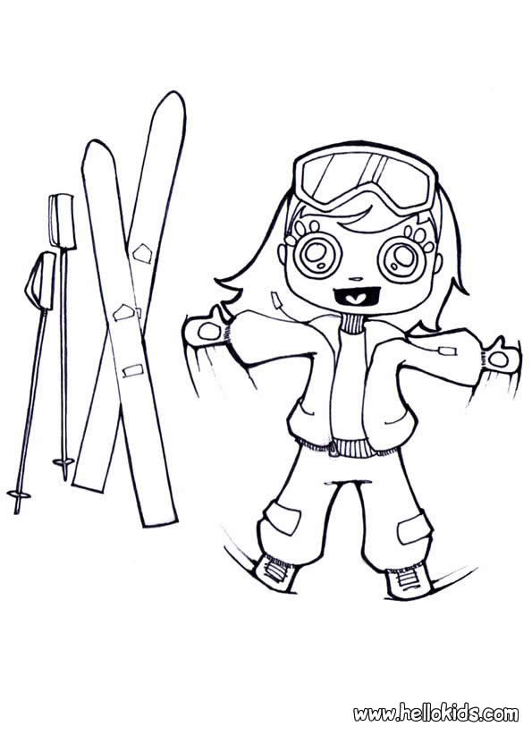 595x822 Skiing Girl Coloring Pages