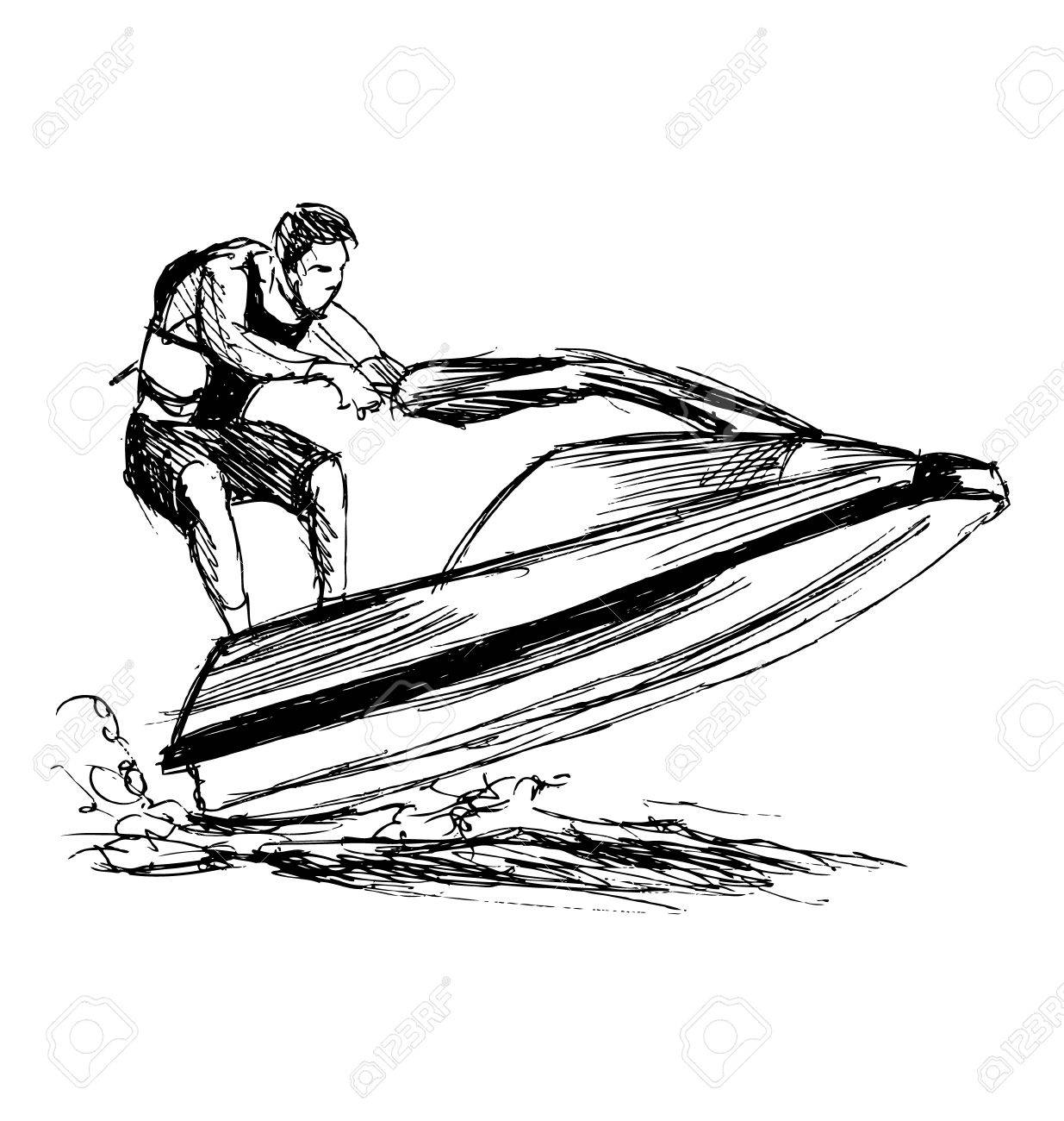 1235x1300 Hand Sketch Rider On A Jet Ski Royalty Free Cliparts, Vectors,