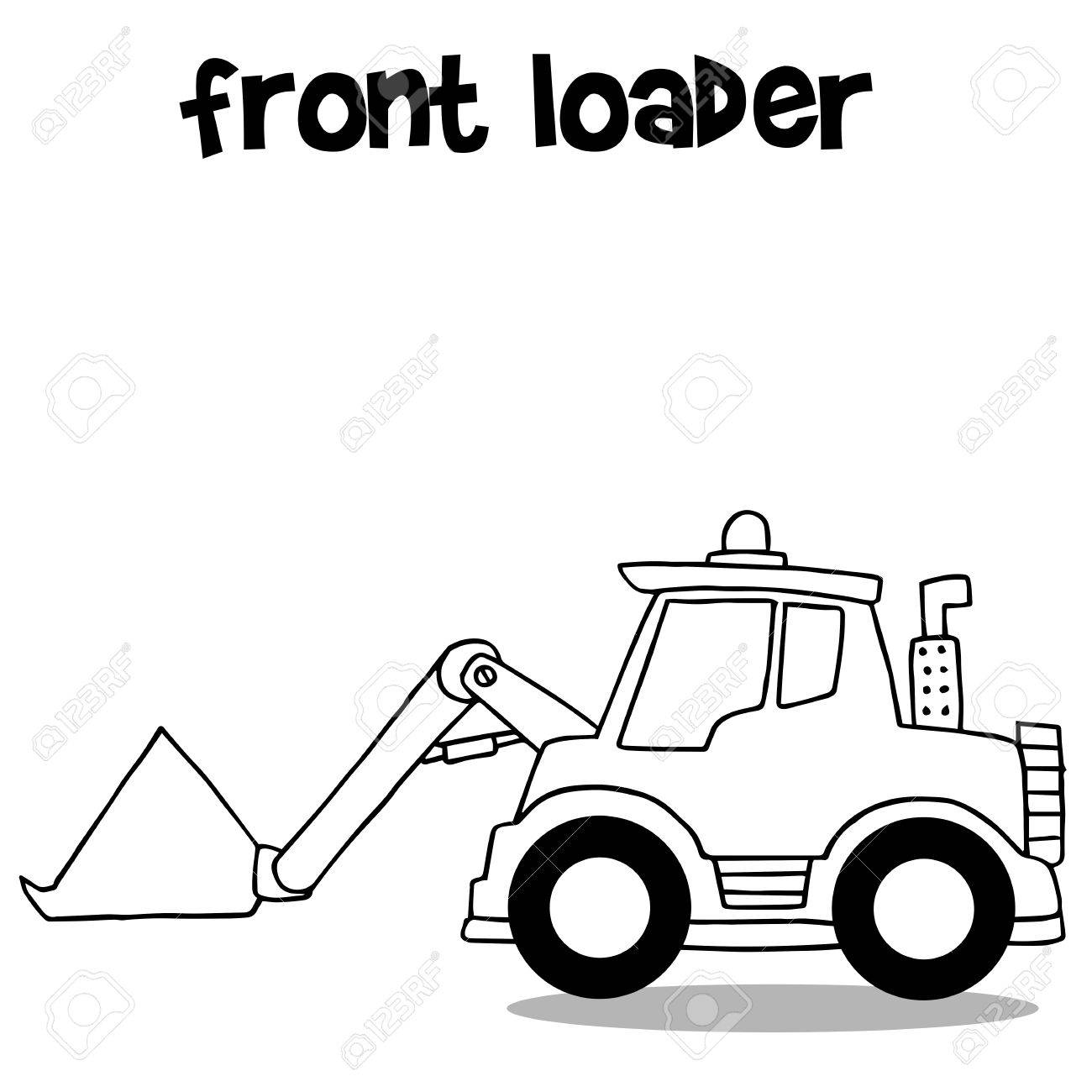 1300x1300 Hand Draw Front Loader Collection Vector Illustration Royalty Free