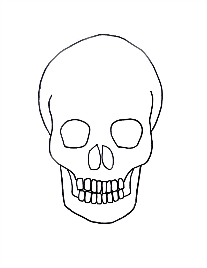 800x1037 Skull Drawing For Kids Gold On Black Skull Drawing For Halloween
