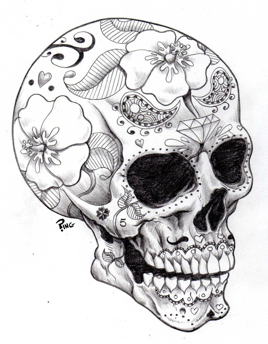 1024x1314 Skull Drawings Sugar Skull Ping By Pingriff Traditional Art
