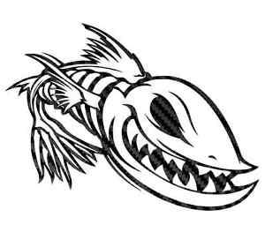 300x263 Carbon Fiber Fishing Sticker Skillet Skilleton Fear No Fish