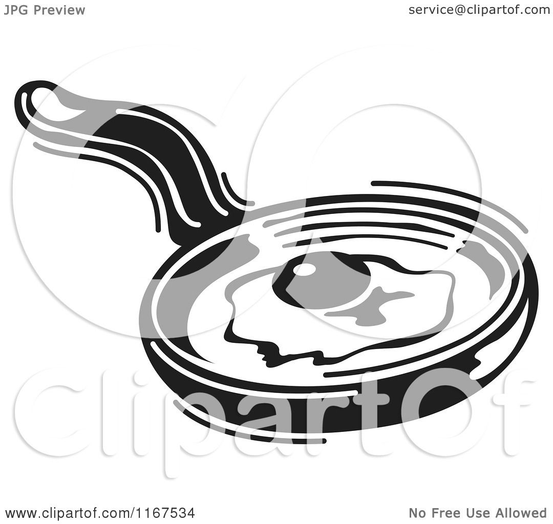 1080x1024 Clipart Of A Black And White Retro Egg Cooking In A Skillet