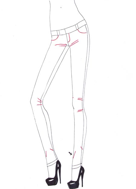 450x624 How To Draw Jeans I Draw Fashion