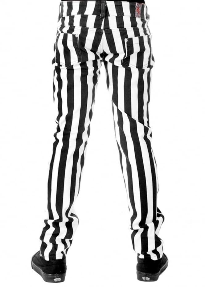 665x927 Run Amp Fly Black Amp White Wide Stripe Stretch Skinny Jeans