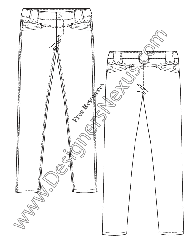 612x792 Free Illustrator Flat Fashion Sketch Skinny Jeans Pants
