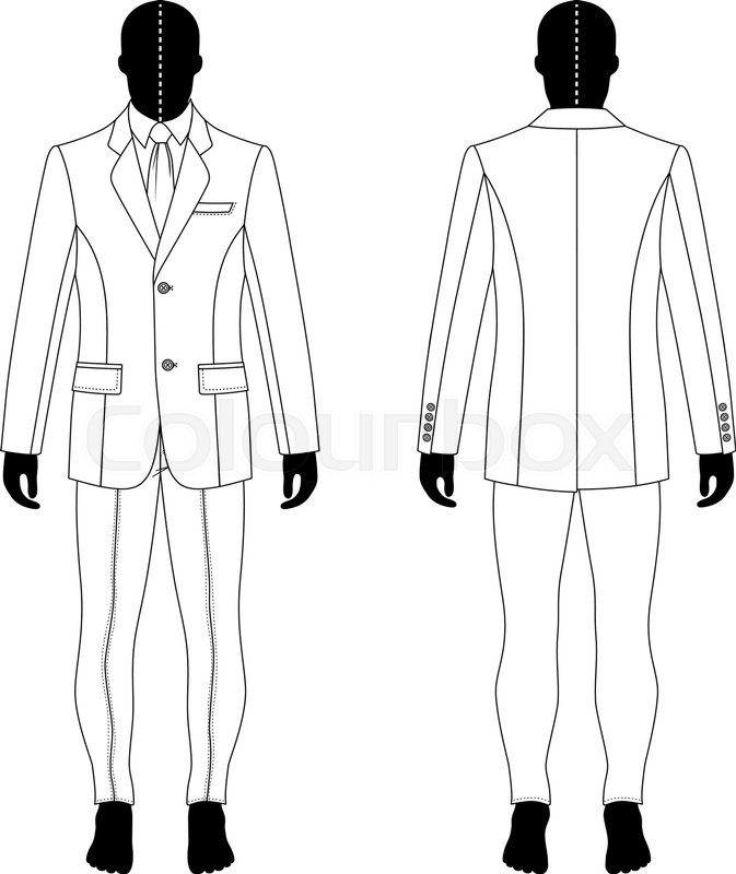 673x800 Full Length Man's Black Silhouette Figure In A Single Breasted