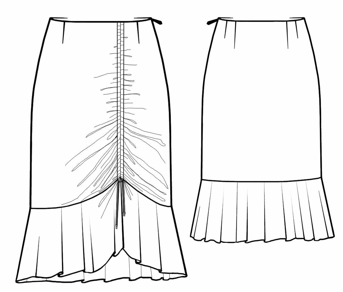1151x980 Skirt With Front Gathering