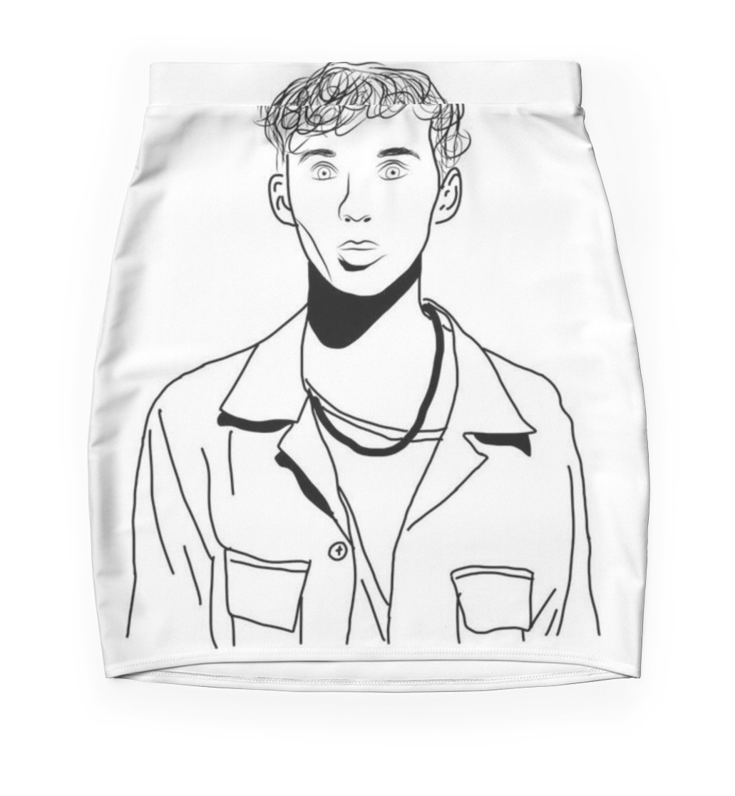 1031x1116 Troye Sivan Outline Drawing Mini Skirts By Erin O'Leary Redbubble