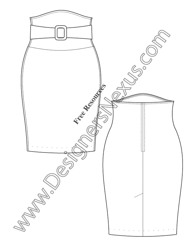 612x792 Free Downloads Illustrator Skirt Flat Sketches