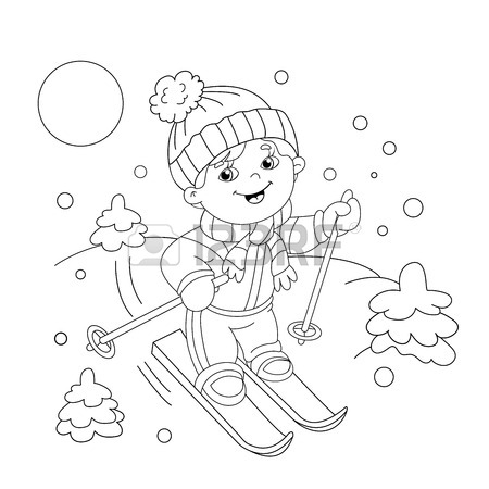 450x450 Coloring Page Outline Of Cartoon Boy Riding On Skis. Winter Sports