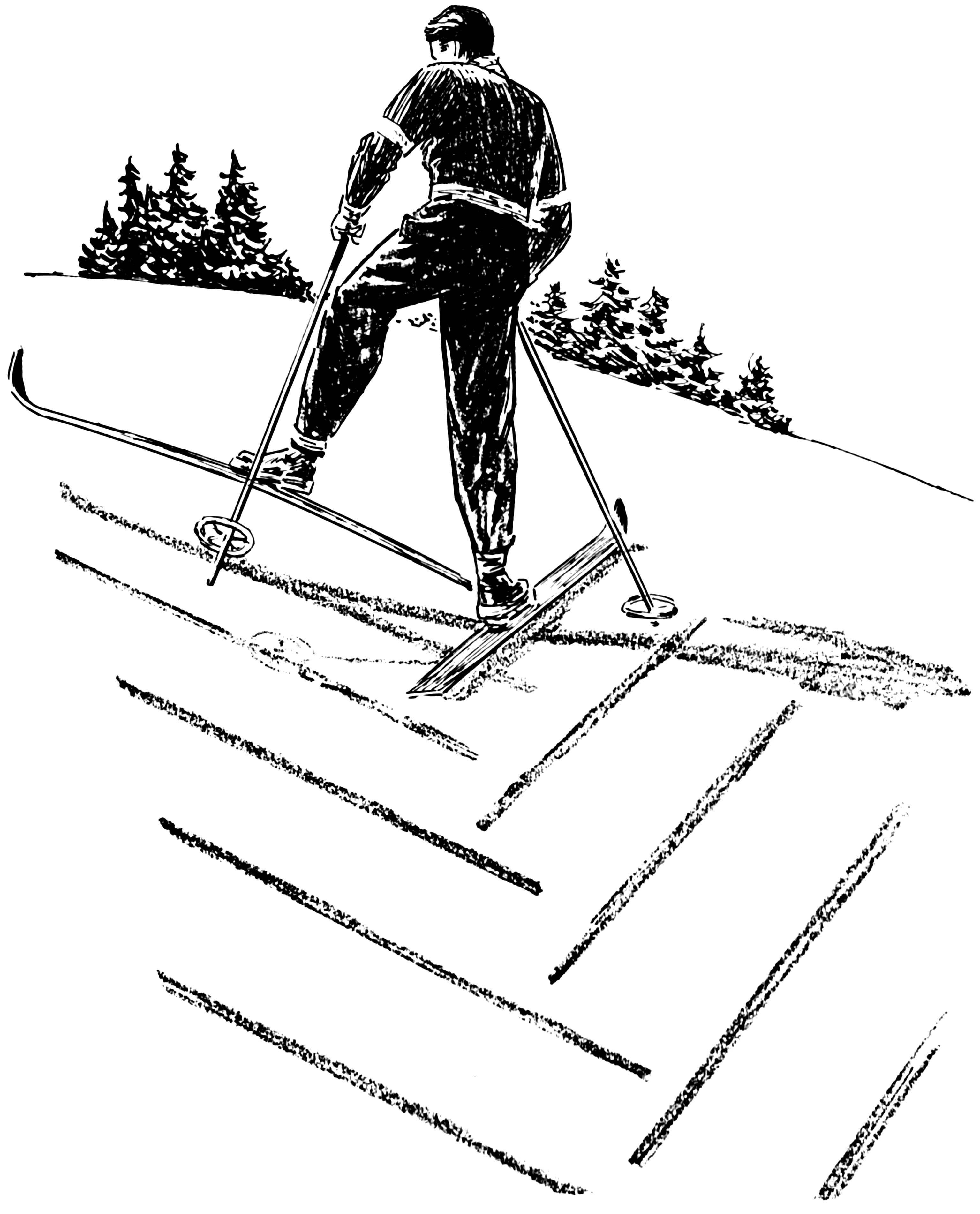 3070x3804 Coloring Page Skiing, Going Uphill
