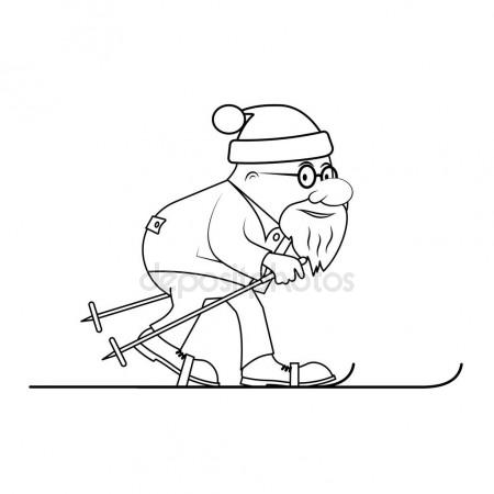450x450 Drawing The Elderly Person On Skis A Vector Illustration Stock