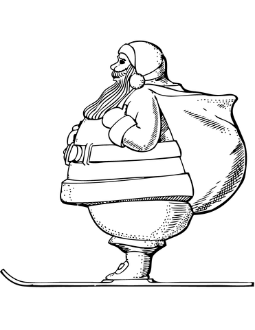 371x480 Santa Claus On Skis Coloring Page Free Printable Coloring Pages