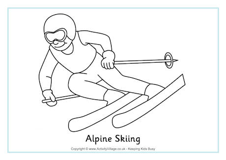 460x325 Skiing Coloring Pages. Skiing Fun Coloring Page. Alpine Skiing