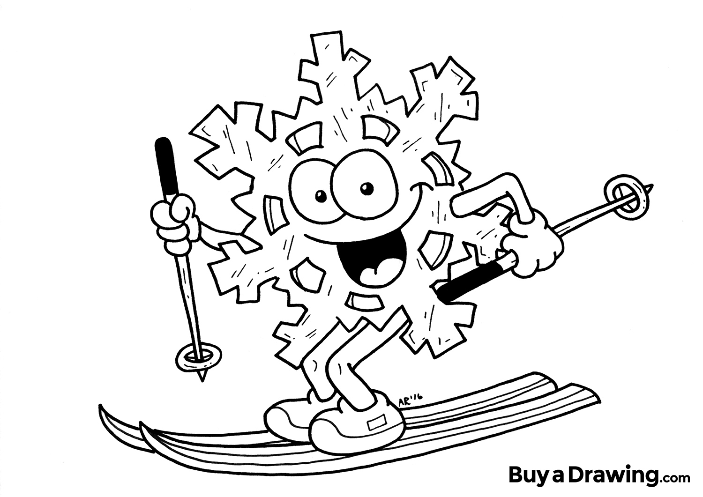 1500x1061 Snowflake Cartoon Character Drawing On Skis