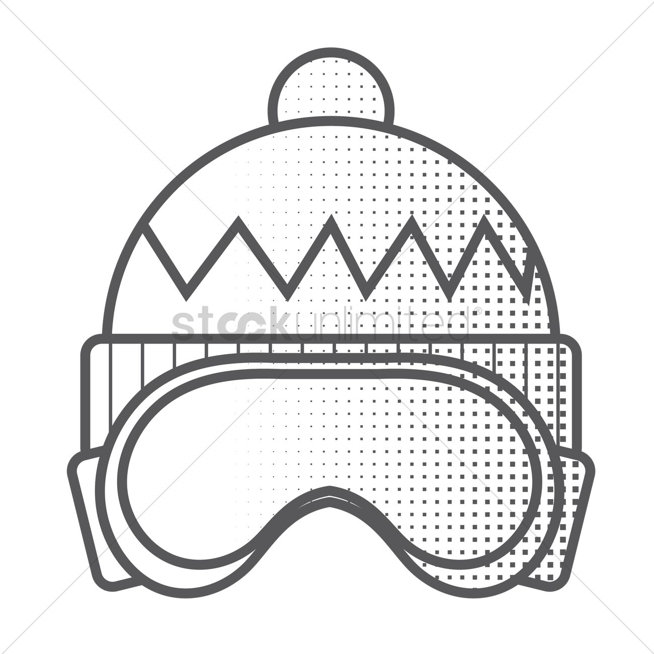 1300x1300 Winter Hat And Ski Goggles Vector Image