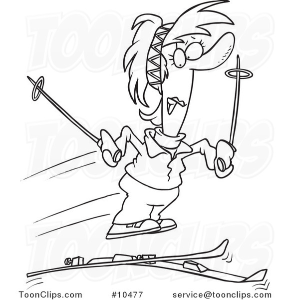 581x600 Cartoon Black And White Line Drawing Of A Lady Losing Her Skis