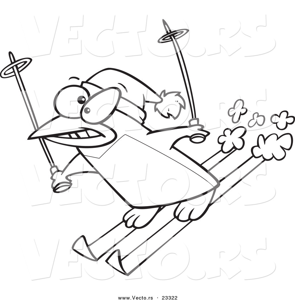 1024x1044 Cartoon Vector Of Cartoon Ski Penguin