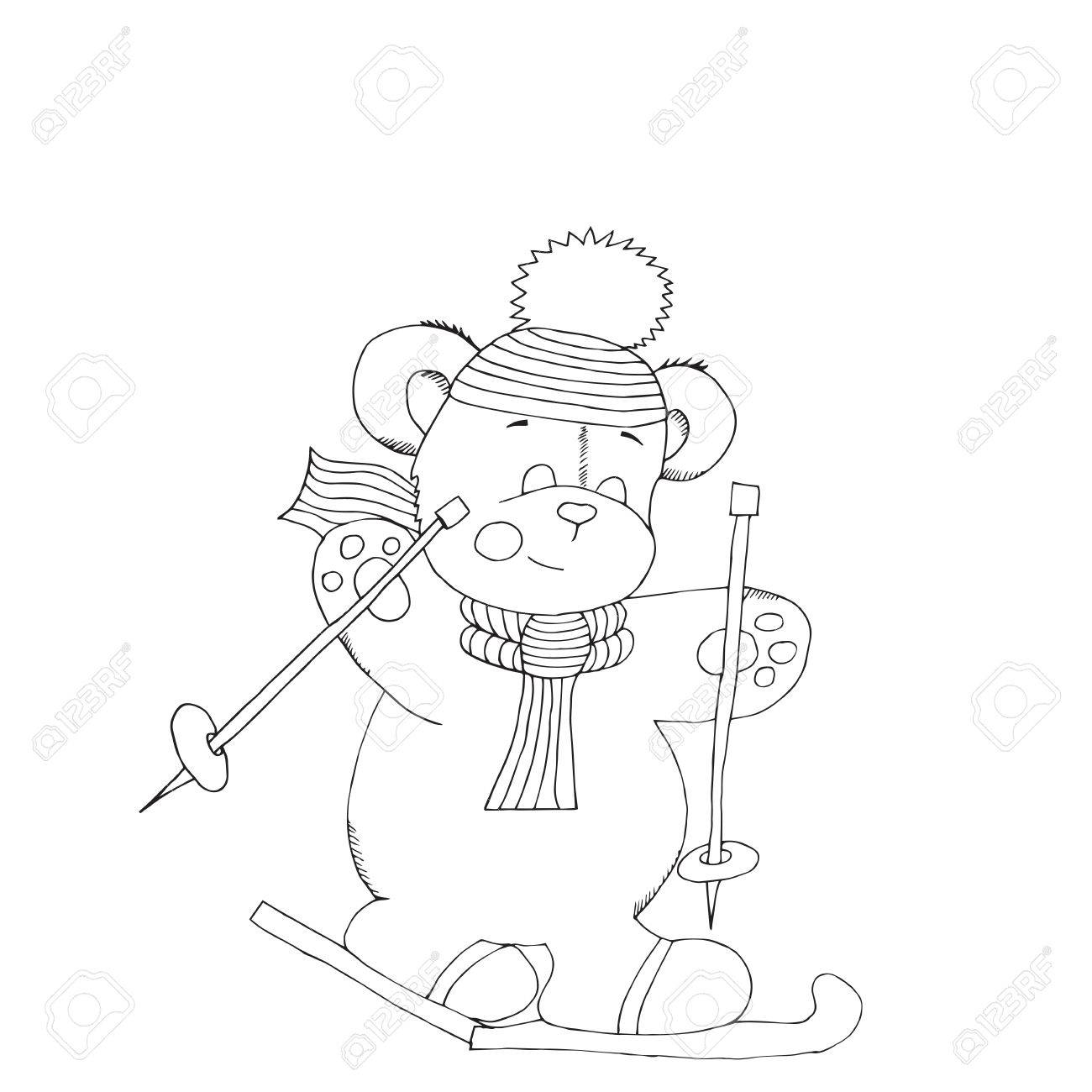 1300x1300 Christmas Ink Sketch Of A Bear Goes On Skis Winter Coloring Book