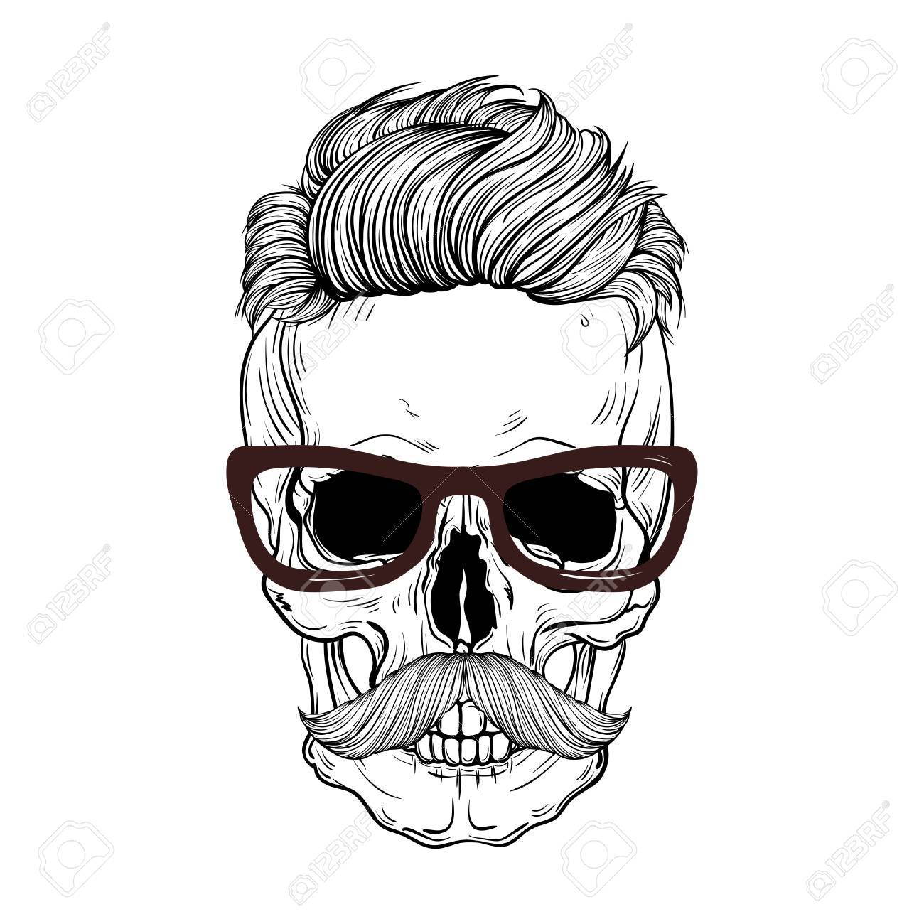 1300x1300 Hand Drawn Anatomy Skull With Mustaches And Hair. Royalty Free