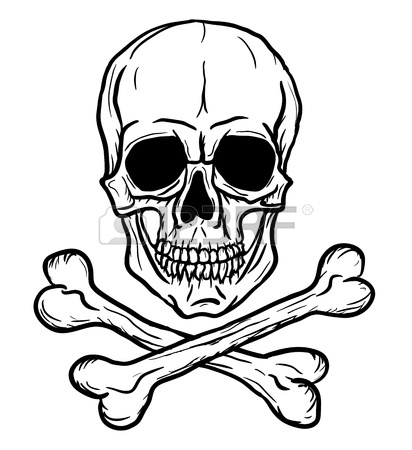 412x450 Skull And Crossbones Isolated Over White Background Freehand