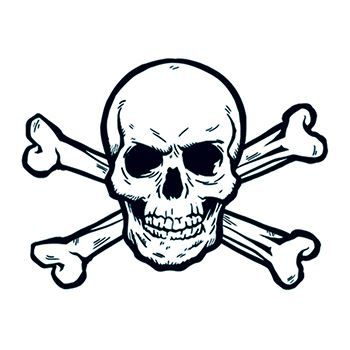 350x350 Skull And Crossbones Temporary Tattoo