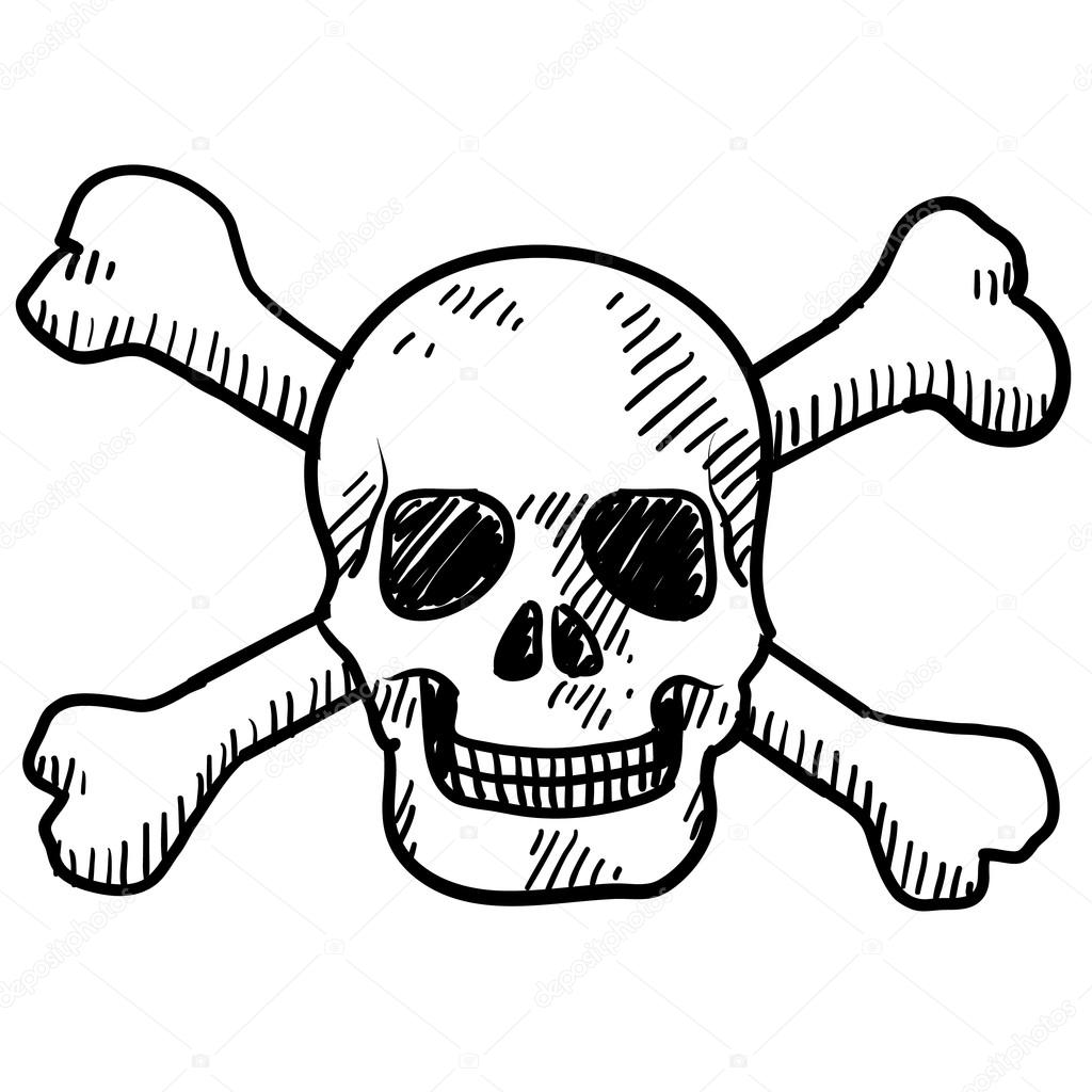 1024x1024 Skull And Crossbones Sketch Stock Vector Lhfgraphics